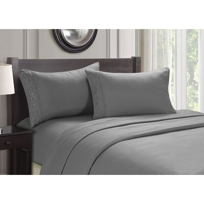 Embroidered 4 Piece Sheet Set Color: Gray, Size: Queen