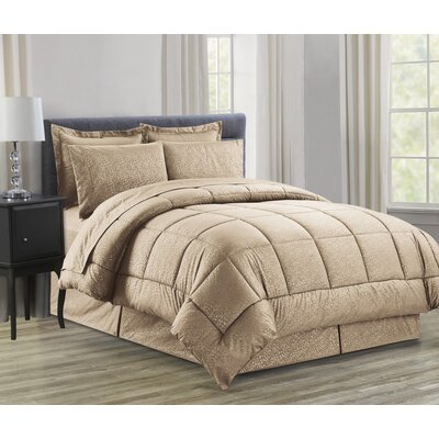 Vine 8 Piece Bed in a Bag Set Size: Queen, Color: Mocha