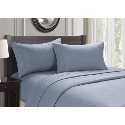 Embroidered 4 Piece Sheet Set Size: Full, Color: Blue