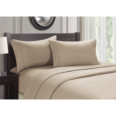 Embroidered 4 Piece Sheet Set Size: Twin, Color: Taupe