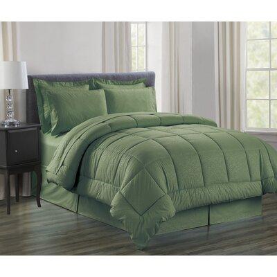 Vine 8 Piece Bed in a Bag Set Size: Queen, Color: Sage