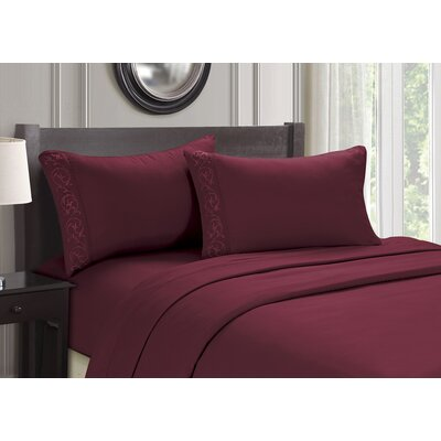 Embroidered 4 Piece Sheet Set Size: Full, Color: Burgundy