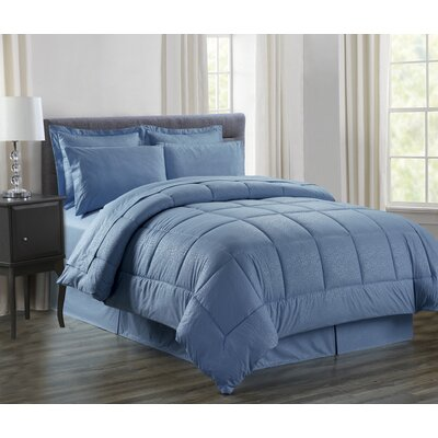 Vine 8 Piece Bed in a Bag Set Size: King, Color: Slate Blue