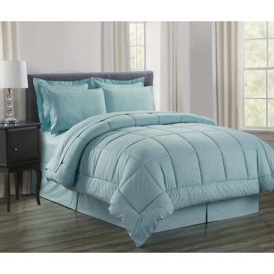 Vine 8 Piece Bed in a Bag Set Size: Queen, Color: Turquoise