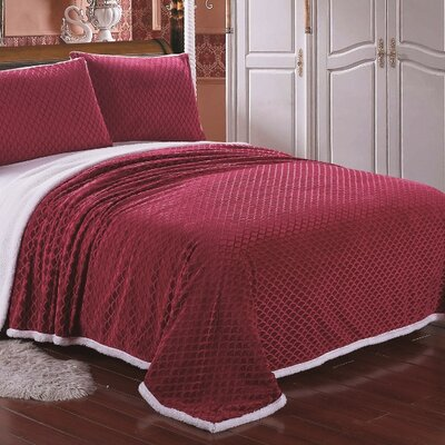 Mermaid Sherpa Blanket Size: Queen, Color: Red