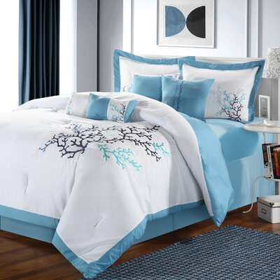 Coral Leaf Embroidered 8 Piece Comforter Set
