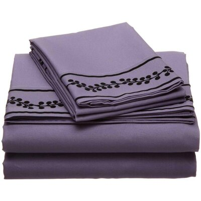 Ruby Microfiber Sheet Set Size: Full, Color: Eggplant