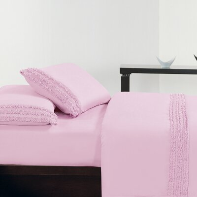 Ruffle Sheet Set Size: King, Color: Pink
