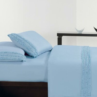 Ruffle Sheet Set Size: Full, Color: Blue