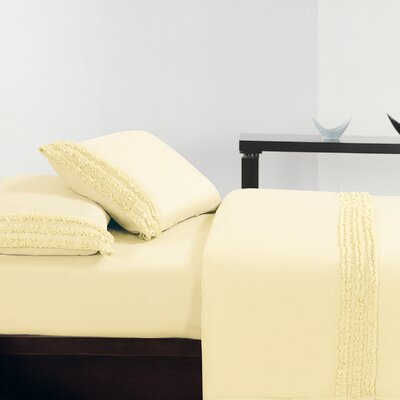 Ruffle Sheet Set Size: Queen, Color: Beige