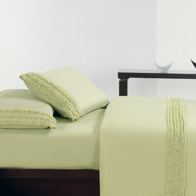 Ruffle Sheet Set Size: King, Color: Lime