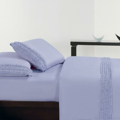 Ruffle Sheet Set Size: King, Color: Purple