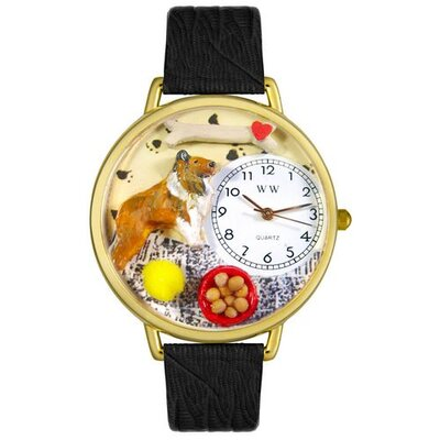 Unisex Collie Black Skin Leather and Goldtone Watch in Gold