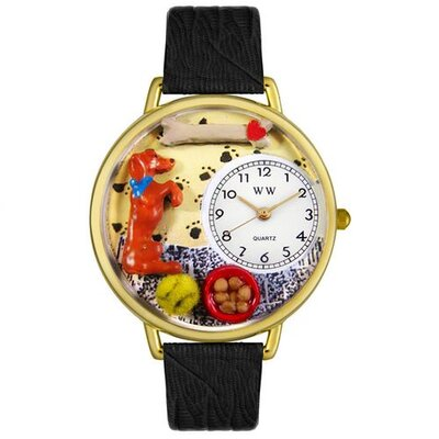 Unisex Begging Dog Black Skin Leather and Goldtone Watch in Gold