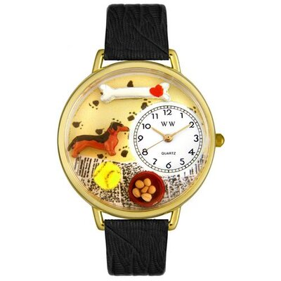 Unisex Dachshund Black Skin Leather and Goldtone Watch in Gold