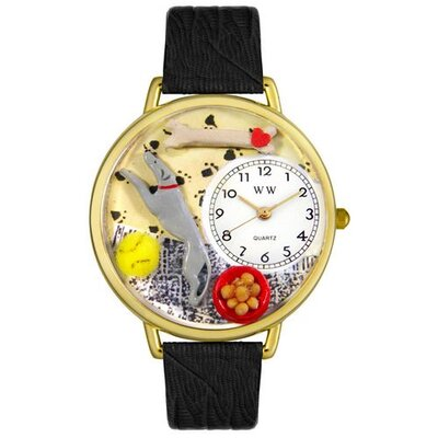 Unisex Greyhound Black Skin Leather and Goldtone Watch in Gold