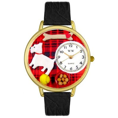 Unisex Westie Black Skin Leather and Goldtone Watch in Gold