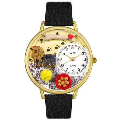 Unisex Yorkie Black Skin Leather and Goldtone Watch in Gold