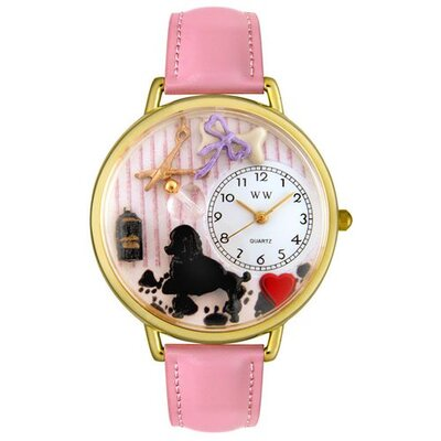 Unisex Dog Groomer Pink Leather and Goldtone Watch in Gold