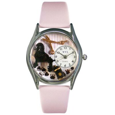 Women's Dog Groomer Pink Leather and Silvertone Watch in Silver