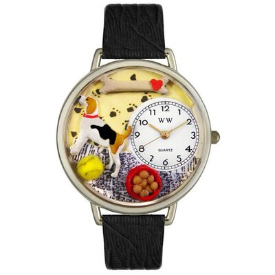 Unisex Beagle Black Skin Leather and Silvertone Watch in Silver