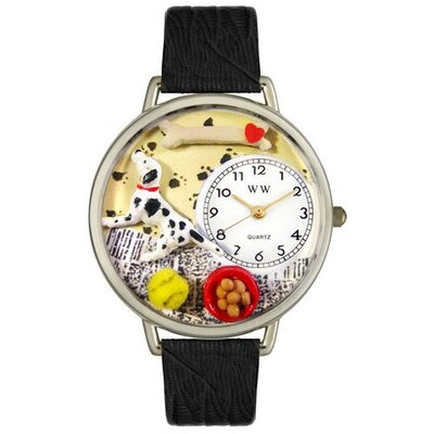 Unisex Dalmatian Black Skin Leather and Silvertone Watch in Silver