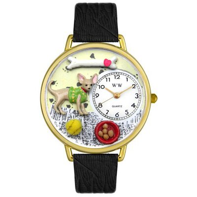 Unisex Chihuahua Black Skin Leather and Goldtone Watch in Gold
