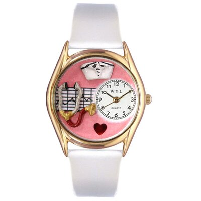 Women's Nurse Red White Leather and Gold Tone Watch