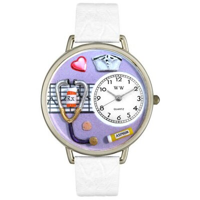Unisex Nurse Purple White Skin Leather and Silver Tone Watch
