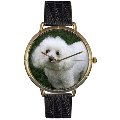 Unisex Bichon Photo Watch with Black Leather Color: Goldtone