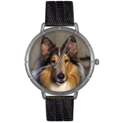Unisex Collie Photo Watch with Black Leather Color: Silvertone