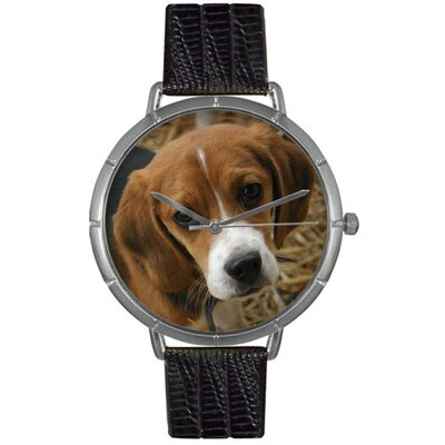 Unisex Beagle Photo Watch with Black Leather Color: Silvertone