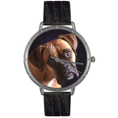 Unisex Boxer Photo Watch with Black Leather Color: Silvertone