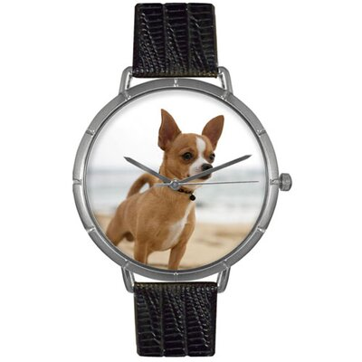 Unisex Chihuahua Photo Watch with Black Leather Color: Silvertone