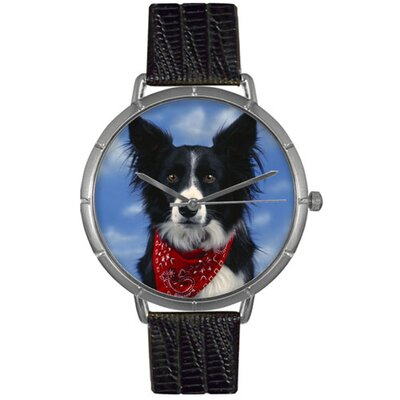 Unisex Border Collie Photo Watch with Black Leather Color: Silvertone