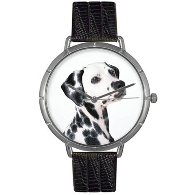 Unisex Dalmatian Photo Watch with Black Leather Color: Silvertone