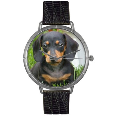 Unisex Dachshund Photo Watch with Black Leather Color: Silvertone
