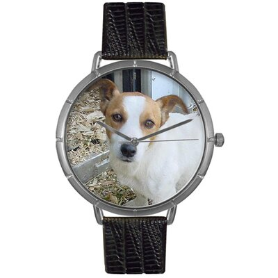 Unisex Jack Russel Photo Watch with Black Leather Color: Silvertone