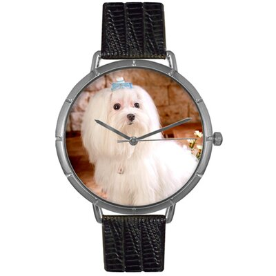 Unisex Maltese Photo Watch with Black Leather Color: Silvertone