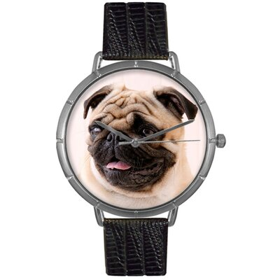 Unisex Pug Photo Watch with Black Leather Color: Silvertone