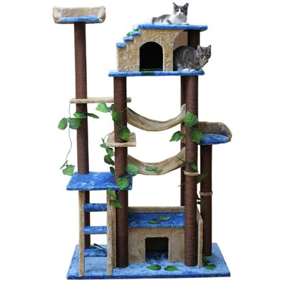 Basset 78 Amazon Cat Tree Color: Blue, Beige and Brown