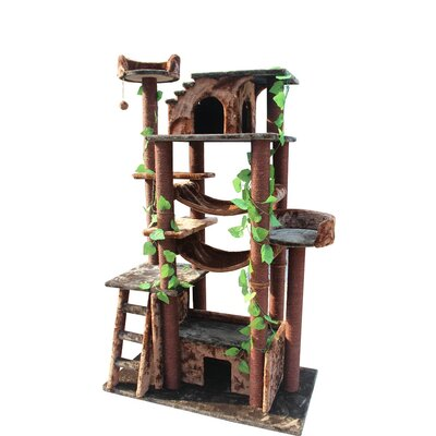 Basset 78 Amazon Cat Tree Color: Green and Brown