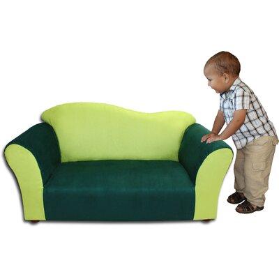 Fantasy Furniture Kid's Wave Microsuede Sofa - Color: Green