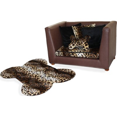 Deluxe Orthopedic Leopard Memory Foam Dog Sofa Size: Medium (17 W x 36 D)