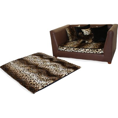 Ozzie Orthopedic Leopard Memory Foam Dog Sofa Size: Large (17 W x 23 D)