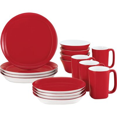 Round & Square 16-Piece Dinnerware Set Color: Red