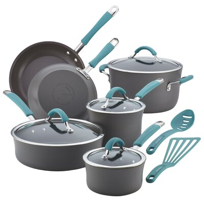 Cucina Hard Anodized Non-Stick 12 Piece Cookware Set Color: Agave Blue 87641