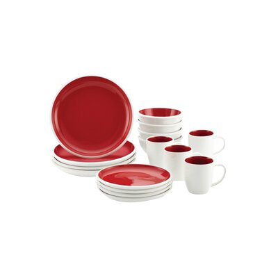 Rise 16-Piece Dinnerware Set Color: Red