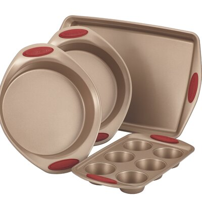 Cucina Nonstick 4 Piece Bakeware Set Color: Latte Brown with Cranberry Red Handles 52386