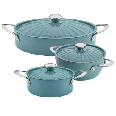 Cucina 6 Piece Non-Stick Cookware Set Color: Agave Blue 05277